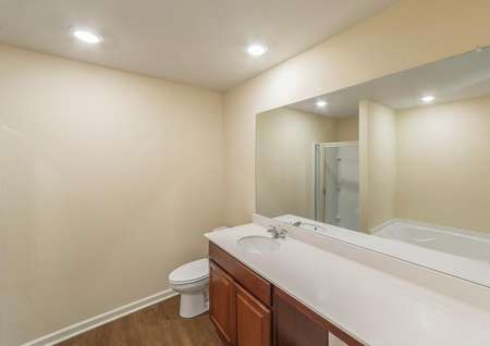A full bathroom with long countertops, a soaker tub and a step-in shower.