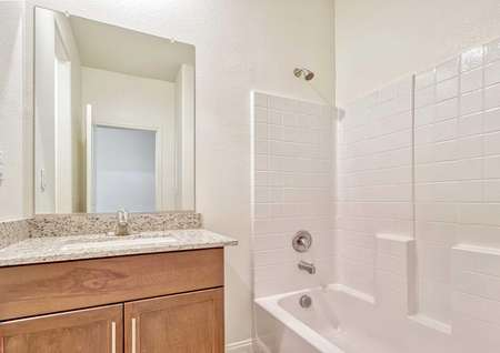 Aster bathroom with light brown wooden cabinet, large vanity mirror, and white fixtures