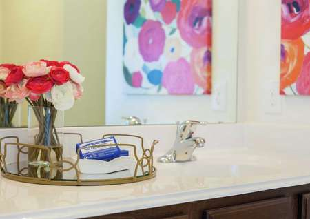 Staged bathroom in model home staged with white and red carnations and towels on a gold trim tray and a painting in the mirror's reflection.