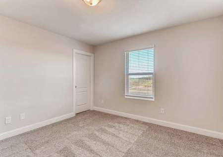 Hawthorn bedroom with white-framed window, light brown carpet, and white-trimmed walls