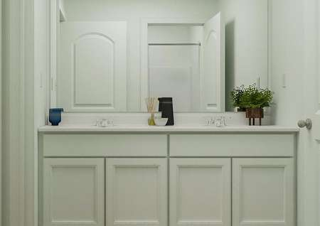 Rendering of a full bath with a   double-sink vanity with white cabinetry.
