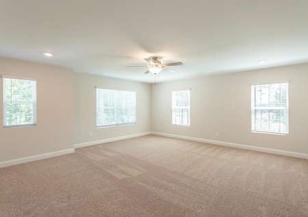 Jackson loft with beige carpeting, multiple windows, and ceiling fan