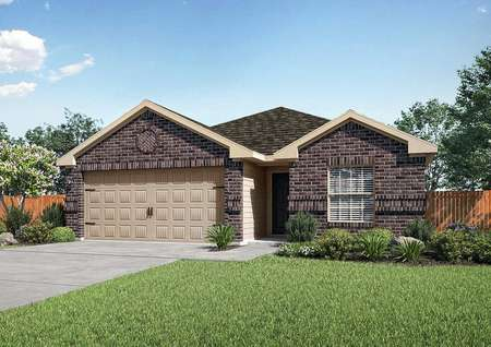 Frio finished house rendering with brick finish, two-car garage, and green grass
