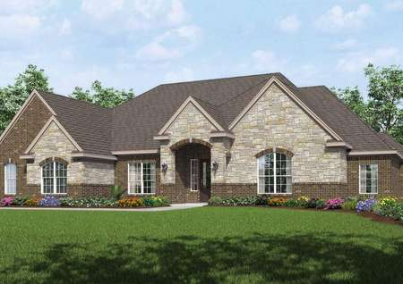 Mantle artist rendering with lush landscaping, two-tone brick and stone siding, and white framed windows