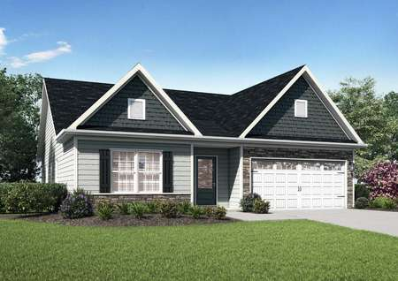 Allatoona exterior rendering with white garage door, green landscaped lawn, and single living level