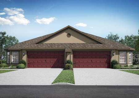 Boca Grande new home rendering with single floor, two-car garage, and landscaped yard