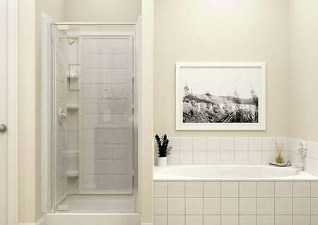 Rendering of master bath stand-alone   shower and separate tub with black and white painting above it