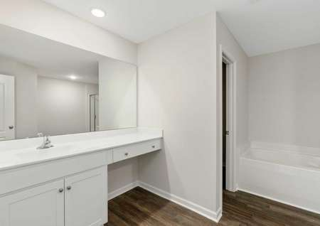 Burton bathroom with white vanity, makeup counter, and attached walk-in closet access