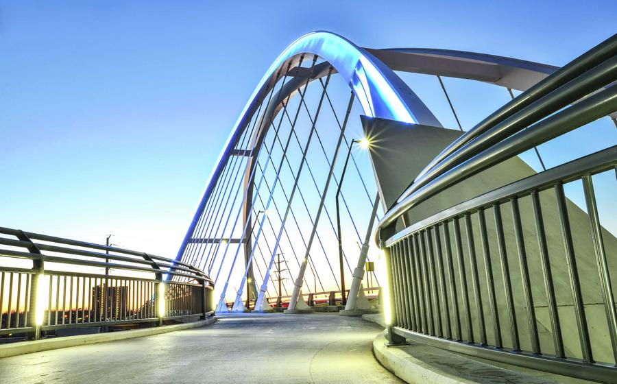 Minneapolis, Minnesota Lowry Bridge connecting the Northeast to North parts of the city with decorative steel archways, walking paths, and metal railings