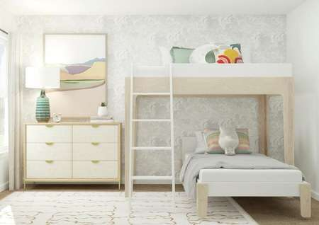 Rendering of bunk bedroom with cabinet   space to the side of bunk beds and small window.