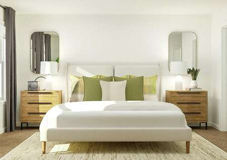 Rendering of the spacious master bedroom   with a large window, spacious bed and two nightstands.