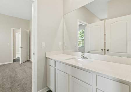 Full bathroom with a large vanity connected to a spacious bedroom.