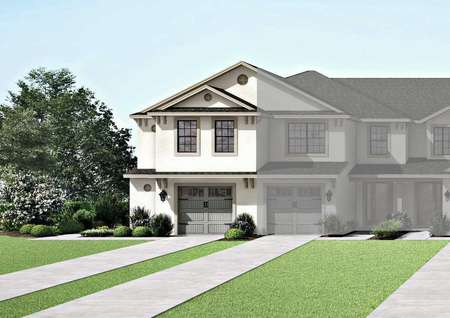 The Miranda floor plans exterior renderings to the far left of the image with a single car garage and extended driveway.