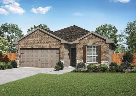 Fannin artist rendering of exterior with brown shutters, green grass, and brown two car garage