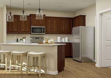 Rendering of the   kitchen showcasing brown cabinetry, stainless steel appliances, granite   countertops and a large island adorned with three stools.