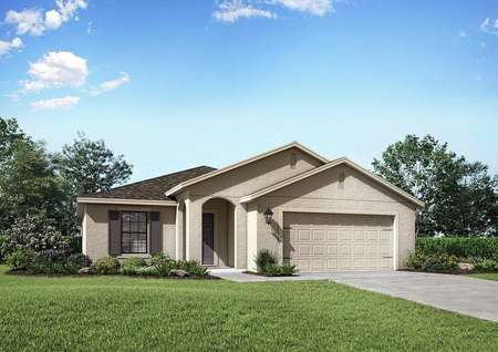 San Marino floor plan exterior view of the home with a two-car garage and a beautifully landscaped front yard.