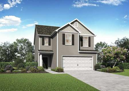 Burke single-family home rendering of exterior with two stories, brown shutters, and white garage door