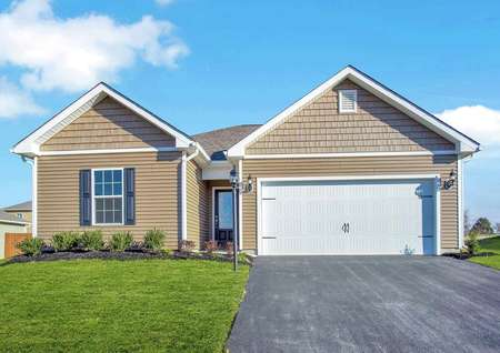 Front exterior photo of Chatfield by LGI Homes with tan paint, white trim, brown shutters, glass front door and 2-car white garage door.