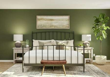 Rendering of a spacious master bedroom   with window, accent wall painted green and carpeted flooring covered by a   rug. In the center is a rod iron bed and two nightstands made of light wood.