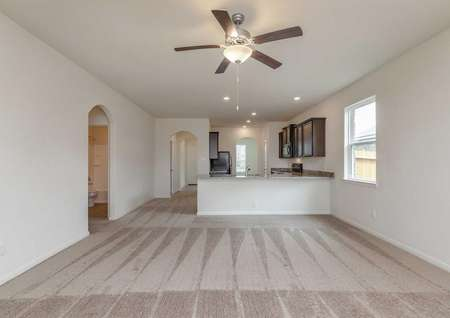 Maple great room with overhead ceiling fan, carpeted floors, and access to granite kitchen peninsula bar