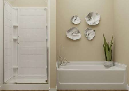 Rendering of the master bath shower and   separate tub, which is decorated with a plant and candles.