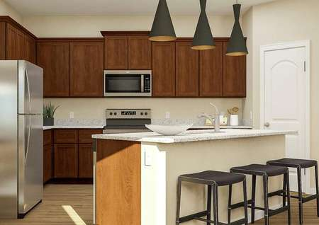 Rendering of the kitchen in the Jackson,   showcasing brown cabinetry, granite countertops, stainless steel appliances   and an angled island with three black stools.
