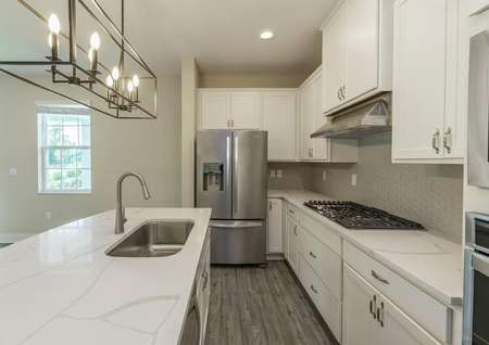 Close up view of chef-ready kitchen with quartz countertops, stainless steel appliances and modern hardware.