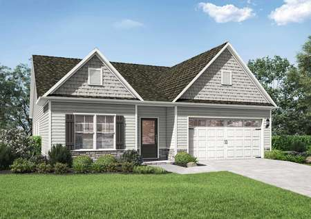 Kiawah floor plans one-story model home side renderings with atwo-car garage and lush green grass front yard.