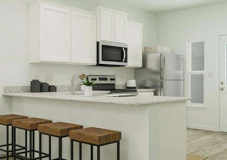 Rendering showing the light and bright   kitchen with white cabinetry, light granite counters and stainless steel   appliances. The space has light wood-style flooring and windows.