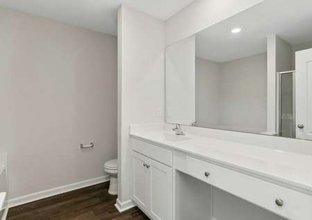 Allatoona house white finish bathroom with extended vanity and mirror