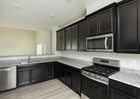 The Mid Atlantic Newport side view of kitchen showing granite countertops and dark brown cabinets.