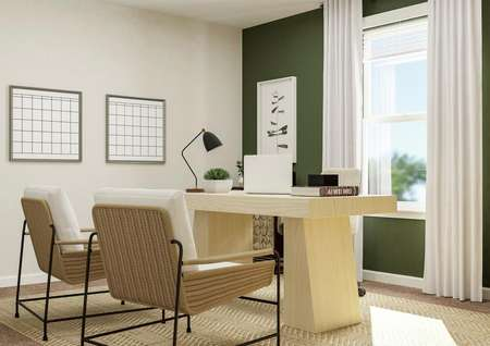 Rendering of a spacious bedroom decorated   as an office. The room has a window and a green accent wall and is furnished   with a desk, two armchairs and side tables.