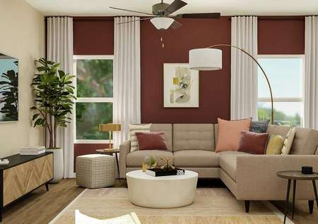 Rendering of living room with ceiling   fan, two windows, red accent wall, tan sectional, white coffee table and   entertainment center
