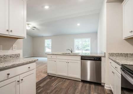 The Alamance kitchen with stainless steel appliances, beautiful cabinetry and countertops.