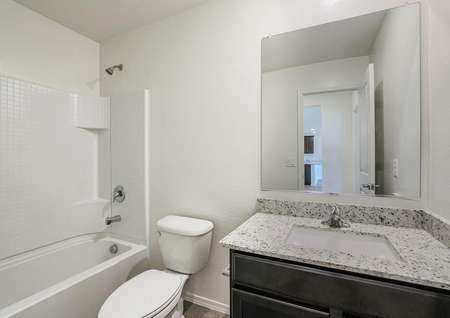 Downstairs bathroom with single-sink vanity and dual tub and shower.