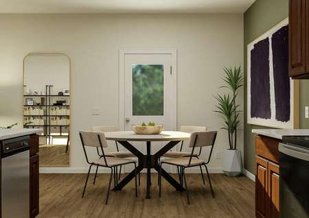 Rendering of a   dining room with wood-look floors, dining table and door to the back yard   adjacent to a kitchen