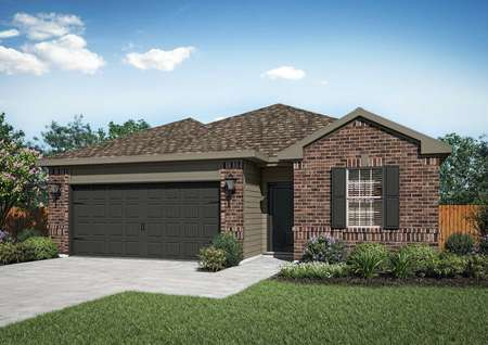 Rendering of the Maple plan with brick exterior, tan siding and dark window shutters.