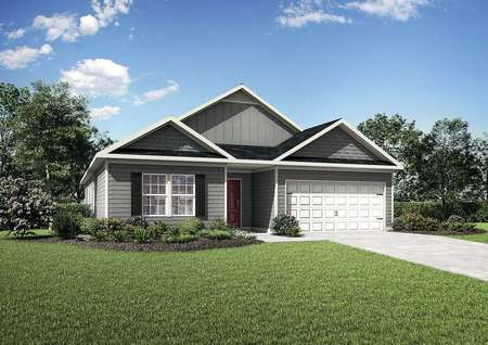 Burton front of house with grey siding, green lawn, and white carriage look garage door