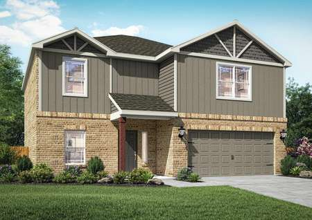 The Sahoma is a two-story home with siding, brick and a lush front yard landscaping.