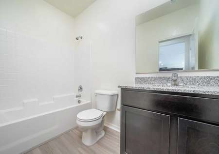 Venice bathroom with brown cabinets, granite counter, and white fixtures
