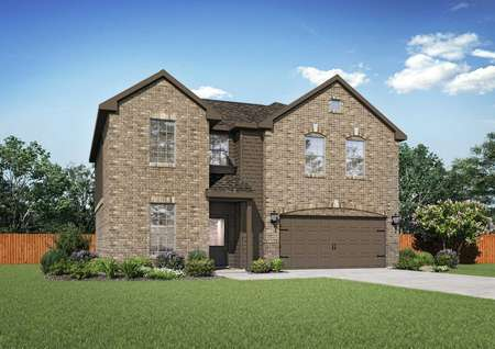Ozark front view of two-story home with brick finish, brown garage door, and landscaped yard