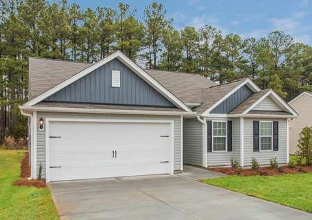 Alamance floor plan with siding, shutters and coach light.