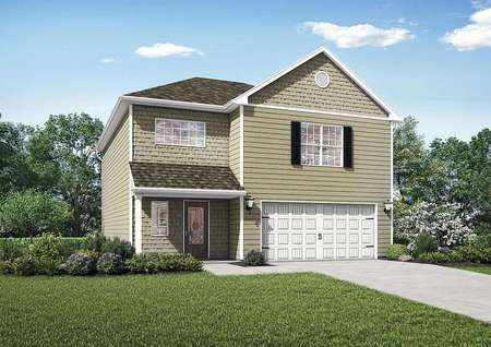 Ashburn completed house rendering with two stories, window shutters, and white accent paint and garage door