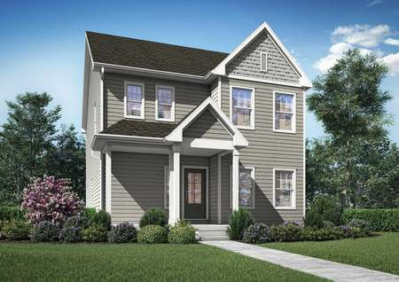 Artist rendering of 2-story Eustis home by LGI Homes, featuring a covered front porch, 6 windows, glass front door, taupe siding with shake shingle detail and white trim, no garage visible from front view.