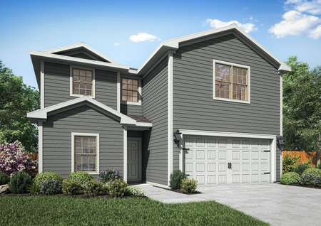 Two-story home with blue siding, an attached two-car garage and front yard landscaping.
