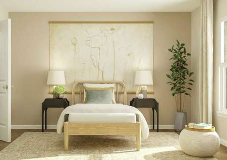 Rendering of kids bedroom with small bed   and large painting and beige accent wall.
