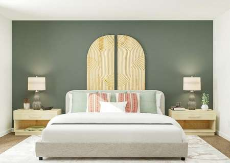 Rendering of owners bedroom with large   bed, green accent wall and dual side tables.