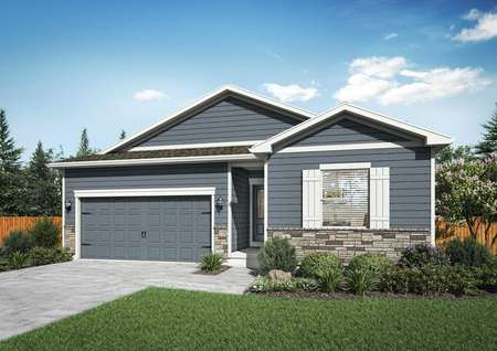 Chatfield new home renderings with gray siding, white accent paint and shutters, and landscape front yard