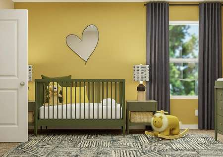 Rendering of secondary bedroom decorated   as a nursey with green crib, night stand and dresser with yellow accent wall