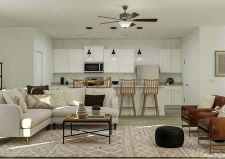 Rendering of the open floor plan of the   Smithfield showing the living room and kitchen behind it.